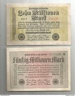 G-I-E, Billet , Uniface , ALLEMAGNE , REICHSBANKNOTE , Zehn + Funfzig Millionen Mark , 2 Scans , LOT DE 2 BILLETS - [ 3] 1918-1933 : Weimar Republic