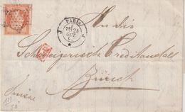 "FRANCE : N° 16 . OBL . ETOILE MUETTE . POUR "" LA SUISSE "" . 1862 . - Postmark Collection (Covers)"