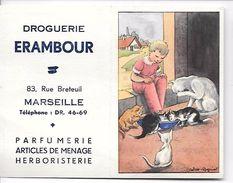 CALENDRIER 1955 Illlustré Par CALVET- ROGNIAT Pour DROGUERIE ERAMBOUR à MARSEILLE -Parfumerie - Articles De Ménage -herb - Small : 1941-60