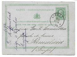 EP N° 8 - Oblitération SC HS 1-S Liège Le 15 DECE 1876 Vers Remsheid En Prusse (lot 423) - Entiers Postaux