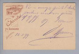 Motiv Schokolade Chocolat Ph.Suchard Ganzsache 5Rp. Bild Chateau/See 1899-01-18 Teufenthal - Alimentation