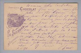 Motiv Schokolade Chocolat Ph.Suchard Ganzsache 5Rp. Bild Fabrik #3 1898-05-04 Teufenthal - Alimentation