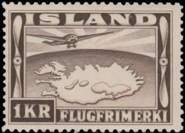 ~~~ Iceland 1934  - Airmail Perf 12½:14 - Mi. 179 B * MH  ~~ - Nuovi