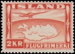 ~~~ Iceland 1934  - Airmail Perf 12½:14 - Mi. 180 B * MH  ~~ - Nuovi