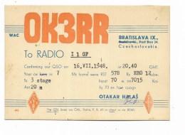 QSL RADIO - OK3RR BRATISLAVA  1948 - Radio