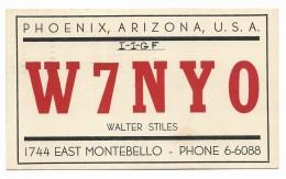 QSL RADIO -  W7NYO PHOENIX ARIZONA  1950 - Radio