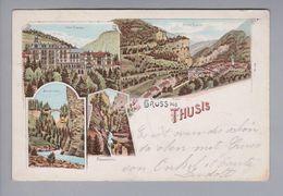AK Schweiz GR Thusis 1899-08-13 Litho 4 Bilder Nach Zürich (Rasierklingen-O) - GR Grisons
