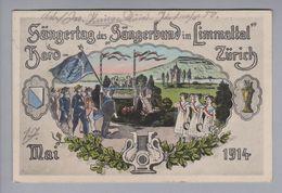 Motiv AK Sängertag Des Sängerbund Im Limmattal 1914 Litho Offiz. Postkarte 1914-05-17 Zürich - Musique