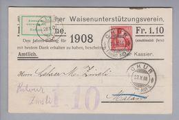 Schweiz Privatganzsache 1908-10-23 NN-Karte Bündner Waisenunterstützungsverein Annahme Verweigert - Entiers Postaux