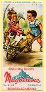 Buvard Magdeleine, Biscottes Toasts. Granville.  Illustration  De Gougeon : 2 Enfants Et Leur Chien Dans Une Brouette. - Biscotti