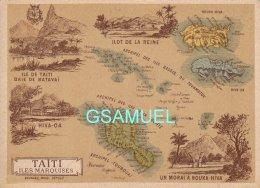 Chromo Datée 1892 Et Signée Au Dos  (11 Cm Sur 8,2 Cm Env) Département Illustré Colonie De TAITI Et Des  Iles Marquises - France