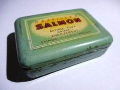 BOITE METALLIQUE PASTILLES SALMON DOCTEUR PHARMACIE MELUN . MENTHOL EUCALYPTUS - Boxes