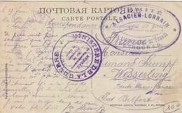 CP De Novgorod Pour Wesserling (prisonnier De Guerre) Du 19 Juin 1916 + Cachet Alsacien-Lorrain Petrograd - Postmark Collection (Covers)