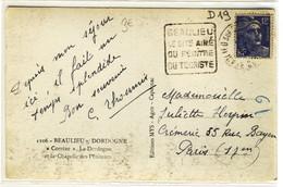 """DAGUIN  - """" BEAULIEU / LE SITE AIME / DU PEINTRE / DU TOURISTE """" """" BEAULIEU SUR DORDOGNE / CORREZE / 10-8-1948 """" - Marcophilie (Lettres)"""