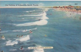 Florida Jacksonville Beach Scene With Sun Bathers - Jacksonville