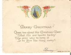 """Christmas Cards  """"Merry Christmas !""""  Queer Too About This Christmas Cheer, That Fills .  .  .  .  . - Other"""