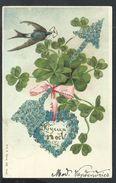 +++ CPA Fantaisie - Voeux - Fleur - Myosotis - Oiseau - Hirondelle - Trèfle - Coeur - Embossed - Gaufrée - Relief   // - Noël