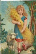 Carte De Petite Fille Revanant Des Moissons Avec Ses Epis De Blé Et Son Mouton - Scènes & Paysages