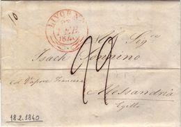 Dc3 - TOSCANA - PREFILATELICA DA LIVORNO AD ALESSANDRIA D'EGITTO 1840 - NAVIGAZIONE - 1. ...-1850 Prephilately