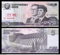 North Korea 5 Won 2008 UNC SPECIMEN - Korea, North