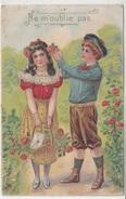 Ne M'oublie Pas-couple Enfants Garçon Attentionné Rose Dans Cheveux Belle Fille Et Panier De Roses -relief  - TBE-2scans - Autres
