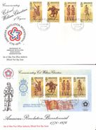 Isle Of Man 1976 American Revolution Bicentennial, Mi  74-77 And Bloc 2 FDC - Isola Di Man