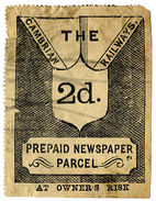(I.B) Cambrian Railways : Newspaper Parcel Stamp 2d (large Format) - 1840-1901 (Victoria)