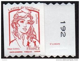 France Autoadhésif N° 1256.** Marianne De Ciappa Et Kawena. Roulette Prioritaire Sans Le Grammage, Verso à Droite (PRO) - Adhésifs (autocollants)