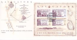 Cocos (Keeling) Islands 1990 Navigators Miniature Sheet Postmarked On Card - Cocos (Keeling) Islands