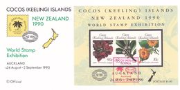 Cocos (Keeling) Islands 1990 New Zealand 1990 Miniature Sheet Postmarked On Card - Cocos (Keeling) Islands