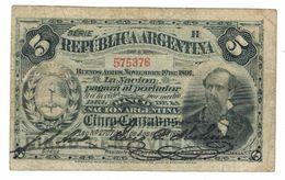 Argentina 5 Centavos (1891) , P-209, VF , Rare. - Argentinië