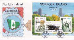 Norfolk Island 1986 Ameripex'86 Miniature Sheet FDC - Norfolk Island