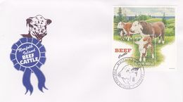 Norfolk Island 1997 Beef Cattle Miniature Sheet FDC - Norfolk Island