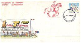 (610) Australia - University Of Western Sydney - Living Together Cover  - Horse Racing / Equestrian Postmark - 1990-99 Elizabeth II