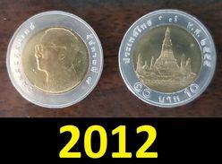 Thailand Coin Circulation 10 Baht Bi Metal Year 2012 UNC - Thailand
