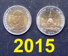 Thailand Coin Circulation 10 Baht Bi Metal Year 2015 UNC - Thailand