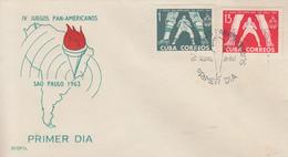 Enveloppe  FDC   1er   Jour   CUBA   4éme  JEUX   PANAMERICAINS    SAO  PAULO   1963 - FDC