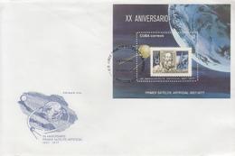 Enveloppe  FDC   1er  Jour  CUBA    Bloc  FEUILLET  20éme  Anniversaire  1er  Satellite   Artificiel   1977 - FDC