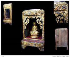 Très Bel AUTEL Birman Vitrine / Old Burmese Golden Showcase For Buddha Statues - Art Asiatique