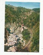 Cp , Chemin De Fer , Train , Le MASTROU Dansles Gorges , 07 ,Ardéche , TOURNON-LAMASTRE, Voyagée 1976 - Trains