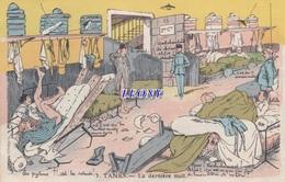 """CPSM 9X14    MILITAIRE  """" TANKS - La DERNIERE NUIT """"   1932 - Humour"""