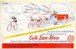 Buvard Café San-Rivo. Un Timbre Poste Dans Chaque Paquet. Illustration Course Cycliste. - Coffee & Tea