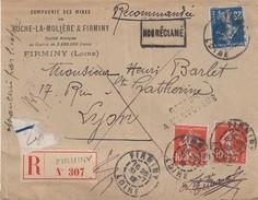 SEMEUSE 10c X 2 + 25c. BUREAU DE RECETTE .  TYPE A3. RECOMMANDE DE FIRMINY LOIRE AVEC RETOUR MINES DE ROCHE LA MOLIERE - 1906-38 Semeuse Camée