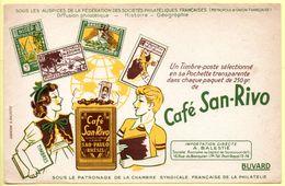 Buvard Café San-Rivo. Un Timbre Poste Dans Chaque Paquet. Illustration Enfants Et Timbres Poste. - Café & Thé