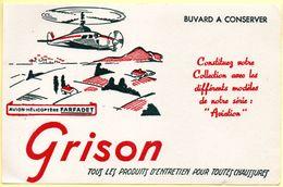Buvard Grison, Produits D'entretien Pour Chaussures. Illustration : Hélicoptère Farfadet. - Blotters