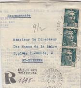 LETTRE RECOMMANDE PROVISOIRE. 20.10.45. GANDON 2F X 3. RECETTE AUXILIAIRE URBAINE D4 ST ETIENNE PREFECTURE. CLERGEAT OUT - 1921-1960: Période Moderne