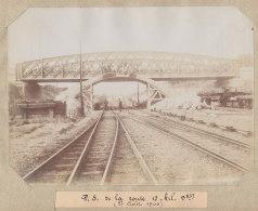 Pierrefitte Sur Seine : Quadruplement Ligne Paris, Pont Des Montains, Avenue Laennec. Août 1906. Photo Originale - Trains
