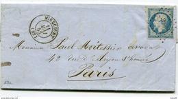 VOSGES De MIRECOURT LAC Du 11/05/1855 Avec N°14 Oblitéré PC 2009 - 1849-1876: Période Classique
