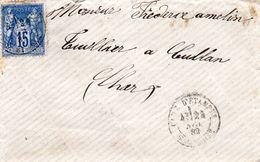 ENVELOPPE -  Mr Théodore AMELIN - Tuilier à CULAN  ( Cher)   1882    (enveloppe Vide) - Storia Postale