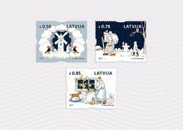 Latvia Lettland  2017 CHRISTMAS SANTA CLAUS , MILL, HORSE SHOWER,OWL MNH - Christmas